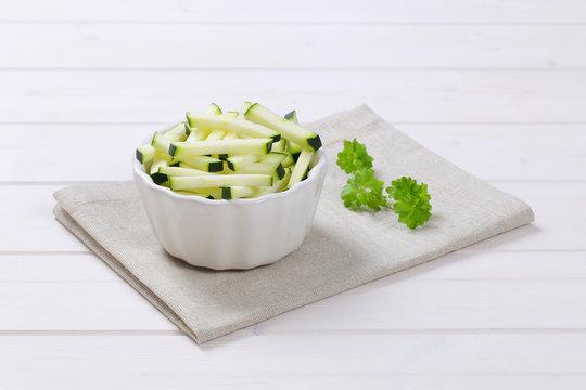 zucchini cut into strips