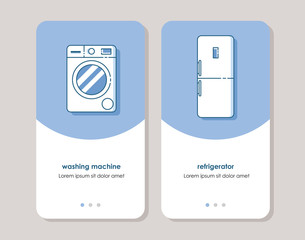 washing machine and refrigerator icons. line icons in simple flat style.