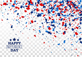 USA Happy Independence Day design concept with scatter papers, stars in traditional American colors - red, white, blue. Isolated.