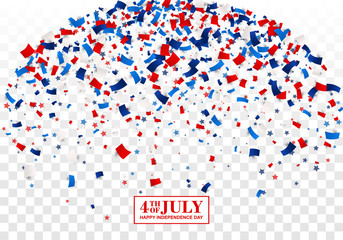 4th of July festive background. American Happy Independence Day design concept with scatter papers, stars in traditional American colors - red, white, blue. Isolated.