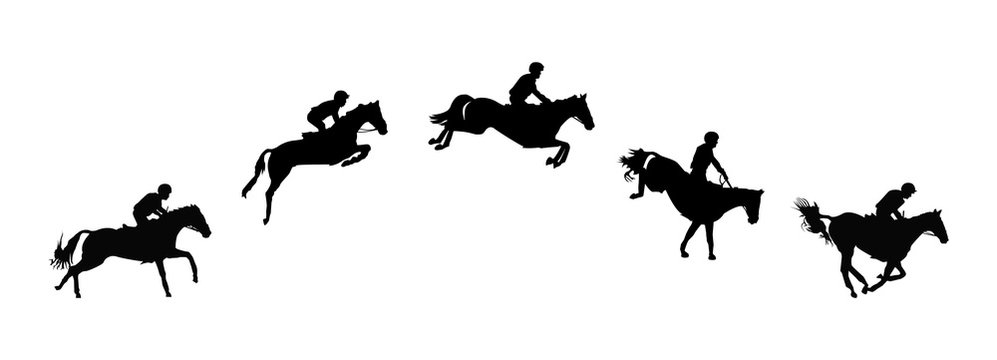 Horse race. Equestrian sport. Silhouette of racing horse with jockey. Jumping. Five steps.