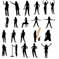 Twenty one woman silhouettes over white background