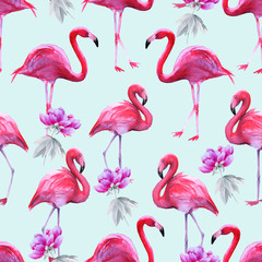 Canvas Prints Background of pink flamingos. Seamless pattern.