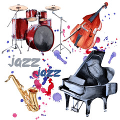 Jazz instruments. Saxophone, piano, drums and double bass. Isolated on white background.