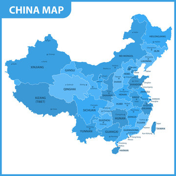 The detailed map of the China with regions or states and cities, capitals
