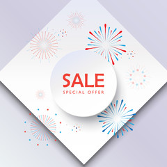 Sale banner Happy Independence Day. Festive background fireworks red and blue color, round frame paper texture vector