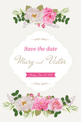 Wedding invitation cards with flower. Beautiful  peonies and roses. (Use for Boarding Pass, invitations, thank you card.) Vector illustration.