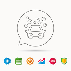 Car wash icon. Cleaning station sign. Foam bubbles symbol. Calendar, Graph chart and Cogwheel signs. Download and Shield web icons. Vector