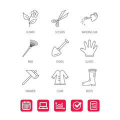 Scissors, hammer and gloves icons. Shovel, watering can and rake linear signs. Cloak, boots and flower flat line icons. Report document, Graph chart and Calendar signs. Laptop and Check web icons