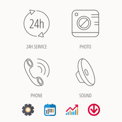 Phone call, 24h service and sound icons. Photo camera linear sign. Calendar, Graph chart and Cogwheel signs. Download colored web icon. Vector