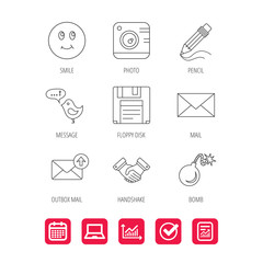 Photo camera, pencil and handshake icons. Inbox e-mail, message speech bubble and smile linear signs. Report document, Graph chart and Calendar signs. Laptop and Check web icons. Vector