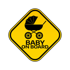 Baby on board sign with child carriage silhouette in yellow rhombus on a white background. Car sticker with warning.