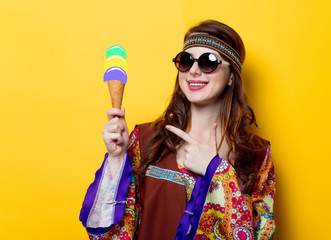 Young hippie girl with sunglasses and ice-cream