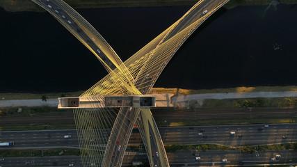 Aerial view of Estaiada bridge in Marginal Pinheiros, Sao Paulo, Brazil