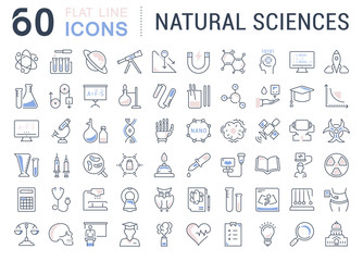 Set of Line icons of natural sciences