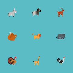 Flat Icons Chipmunk, Hippopotamus, Camelopard And Other Vector Elements. Set Of Zoo Flat Icons Symbols Also Includes Lion, Turkey, Hippo Objects.