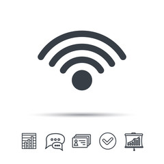 Wifi icon. Wireless internet sign. Communication technology symbol. Chat speech bubble, chart and presentation signs. Contacts and tick web icons. Vector