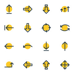 Vector Illustration Of 16 Arrows Icons. Editable Pack Of Raise, Upwards, Download And Other Elements.