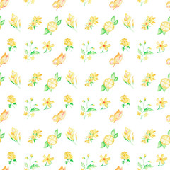 Watercolor pattern Butterflies, flowers and fruits seamless design on white background.