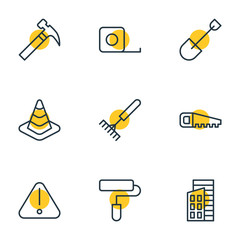 Vector Illustration Of 9 Industry Icons. Editable Pack Of Apartment, Hacksaw, Handle Hit Elements.