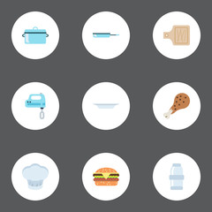 Flat Icons Chef Hat, Spice, Fast Food And Other Vector Elements. Set Of Kitchen Flat Icons Symbols Also Includes Casserole, Dish, Saltshaker Objects.