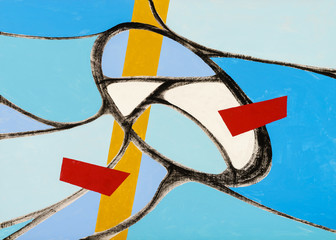 An abstract painting with division by a curved mesh.