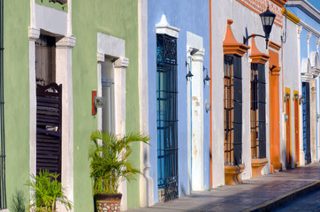 Fototapete - Colonial Houses on the Street