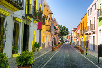 Colorful Colonial Street in Downtown Puebla