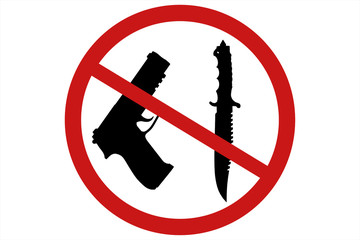 No weapons sign and symbol 3d illustration