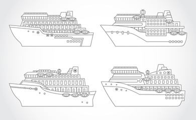 Vector set of cruise ships.