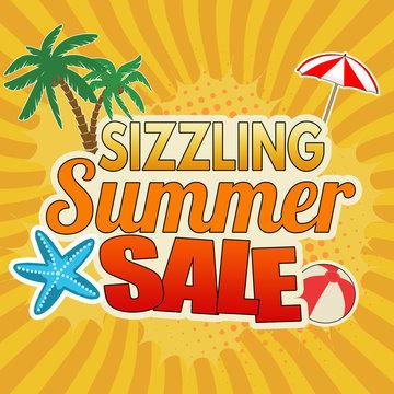Sizzling summer sale advertising poster design