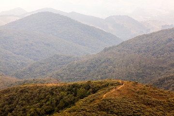 People on trekking in an isolated mountain in southern Brazil