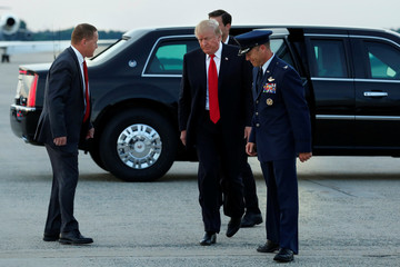 President Donald Trump arrives at Joint Base Andrews in Maryland