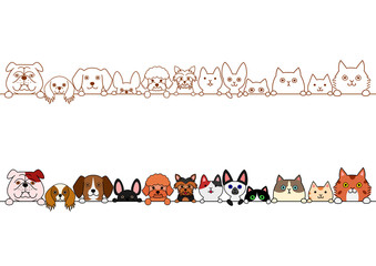 cute dogs and cats border set