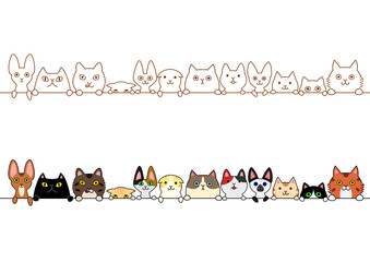 cute cats border set