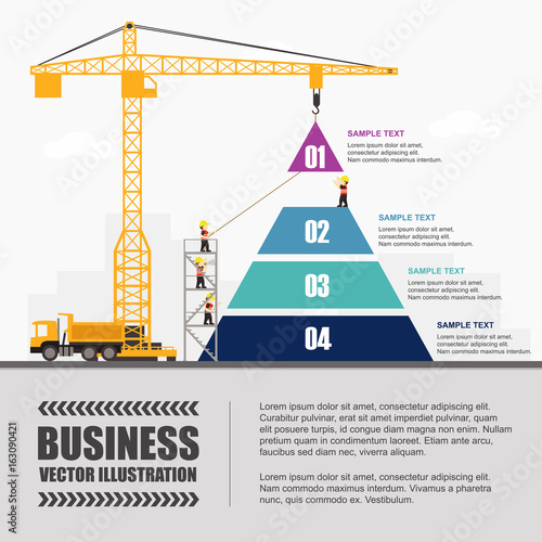 Crane and pyramid building. Infographic Template. Vector ...