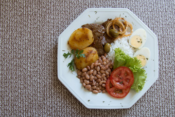 Traditional Brazilian food dish top view with space to write
