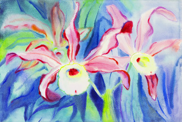Watercolor painting purple,pink color of orchid flower and green leaves in blue background.
