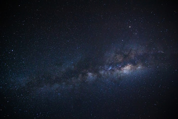 Milky way galaxy. Long exposure photograph.With grain