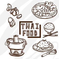 Thai food objects drawing graphic object
