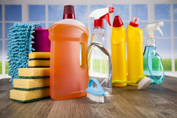 Cleaning products. Home concept and window background