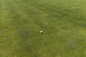 top view of golf ball on fairway