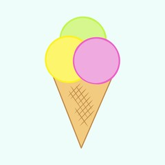 Simple flat hand drawn ice cream, isolated on light green background
