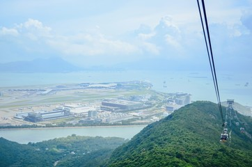 View of Hong Kong International Airport From Ngong Ping 360 Cable Cars