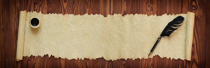 papyrus scrolls with ink and pen, panorama