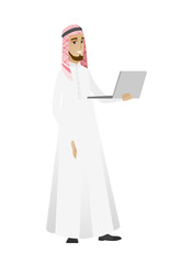 Businessman using laptop vector illustration.