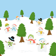 group of snowman in winter season background