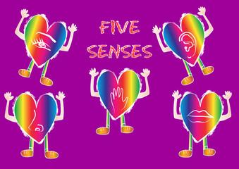 Five Senses Icon with hearts cartoon