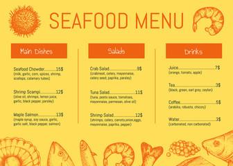 Seafood restaurant menu brochure template