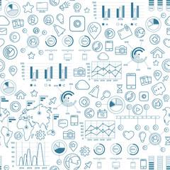 Social Media Blue Seamless Pattern
